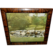 Vintage Print of Cows or Cattle in Stream