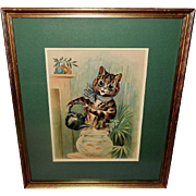 Louis Wain Chromolithograph of Cat and Fish Bowl