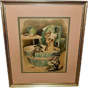 Louis Wain Chromolithograph of Three Cats Taking Bath