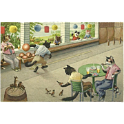 Max Kunzli Postcard of Dressed Cats Bowling