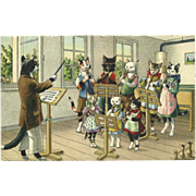 Max Kunzli Dressed Cats Postcard of Music Lesson
