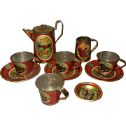 German Lithographed Tin Toy Tea Set with Forest Animals