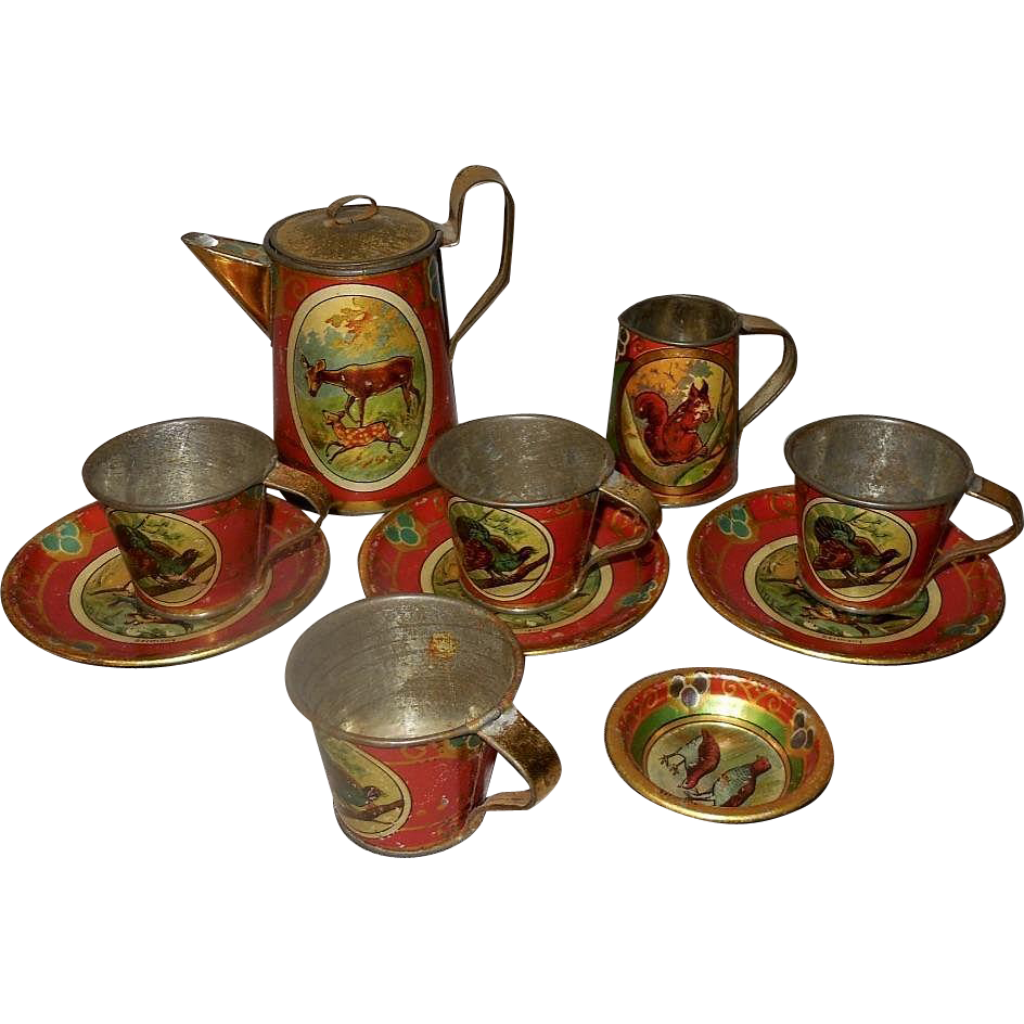 Toy Tea Set : German lithographed tin toy tea set with forest animals