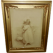 Sepia 1900 Photo Print on Glass of Young Girl with Butterfly Net