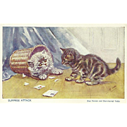 Mabel Gear Vintage Postcard of Blue Persian and Tabby Cats