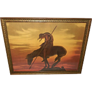 Vintage Print of the End of the Trail Indian on Horseback - Borin Manufacturing Chicago