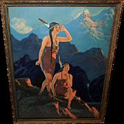 Edward Eggleston Vintage Print of Two Indian Maidens on Cliff