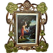 Art Nouveau Style Metal Frame with Painted Flowers and Indian Maiden