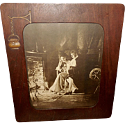 James Arthur 1904 Sepia Print of Colonial Couple in Iconographic Frame