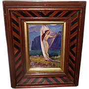 L. Goddard Small Vintage Print of Dark Haired Lady in Two Tone Wood Frame - 1 of 2