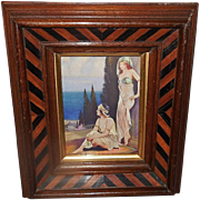 Small Vintage Print by L. Goddard of Two Art Deco Style Women in Two Tone Wood Frame - 2 of 2