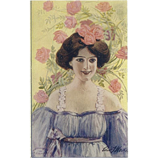 Artist Signed Vintage Postcard of Lovely Lady with Pink Flowers