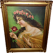 Vintage Print of Lovely Art Nouveau Style Lady with Roses in Embellished Frame