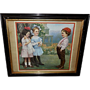 Ketterlinus Vintage Print of Boy with Two Girls Titled His First Pair of Pants