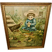 Chromolithograph of Farm Scene Dated 1906 of Family in Danger - Chickens and Cat