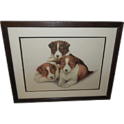 Three Puppies Vintage Print by Grace Lopez