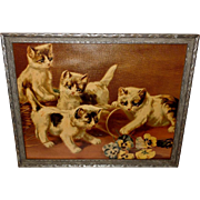 Chromolithograph of Four Kittens or Cats Playing with Flowers