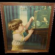 Vintage Print of Child Feeding Canary