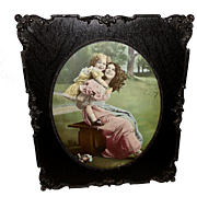 Vintage Print of Mother and Daughter in Ornate Frame