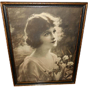Zula Kenyon Large Vintage Print of Beautiful Lady Named Iris