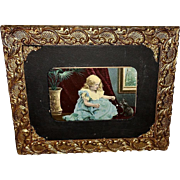 Vintage Print of Young Girl Playing with Cat or Kitten in Ornate Frame