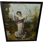Hallen and Weiner Vintage Print of Classical Lady with Garland