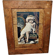 Munier Postcard of Child with Broken Vase in Folk Art Style Wood Frame