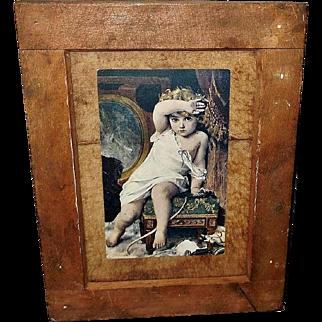Munier Postcard of Child with Broken Vase in Folk Art Style Wood Frame