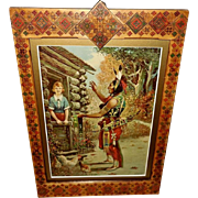 Embossed 1923 Advertising Print for Round Oak Stoves with Indian and Lady in Decorative Frame