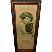 Vintage Print of Girl Holding Dog with Verse from Poem by Richard Stoddard
