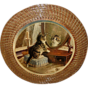 Kitten Looking in Mirror Mounted on Wood with Wicker