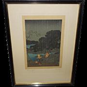 Japanese Woodblock Print of Rainy Night by Hiroshige.