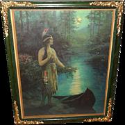 F. R. Harper Vintage Calendar Print of Indian Maiden Nokomis in Ornate Green Frame