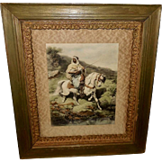 Adolph Schreyer Embossed Print of Arab Warrior on White Horse