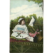 Vintage Photo Postcard of Young Girl with White Bird and Flowers