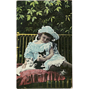 Vintage Photo Postcard of Young Girl with Three Cats or Kittens