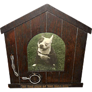Iconographic Dog House Frame with Leash and Bull Dog Photo
