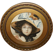Petite Round Frame with Vintage Print of Lady with Large Hat