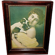 Vintage 1899 Print of Lovely Lady Holding Two Puppy Dogs