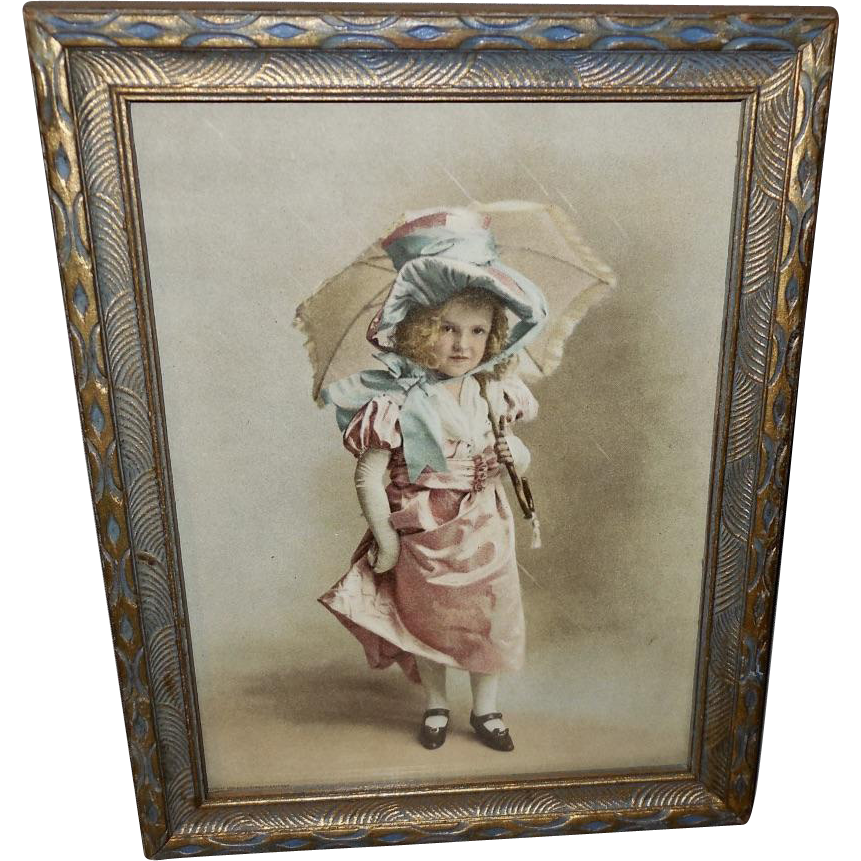 Vintage Print of Young Girl in Rain Dated 1901