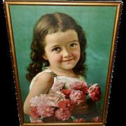 Metropolitan Life Chromolithograph Calendar of Young Girl with Flowers