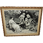 Neyret Freres Woven Silk Print of Teeter Totter after Fred Morgan