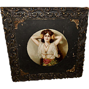 Chromolithograph of Gypsy Lady in Ornate Frame