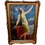 Charles Relyea Native American Indian Maiden in Pie Crust Frame