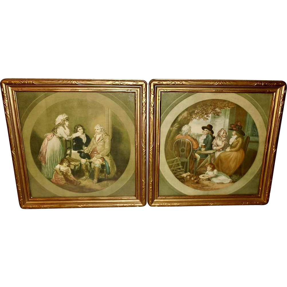Pair of George Morland Mezzotints of Family Visits