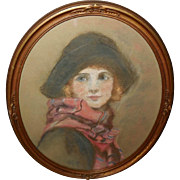 Pastel Drawing of Lady with Hat and Scarf dated 1922