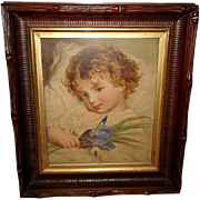 Louis Prang 1873 Chromolithograph of Prattling Primrose After Sophie Anderson