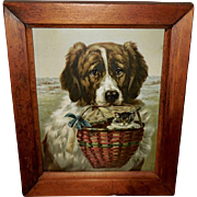 Chromolithograph of St. Bernard Dog with Kitten in Basket