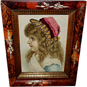 Chromolithograph of Young Girl with Needlework Embellished Hat