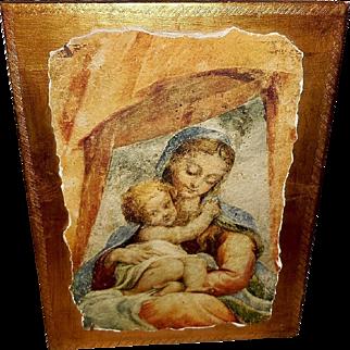 Italian Florentine Affresco or Fresco of Mary and Jesus by Guido Botticelli